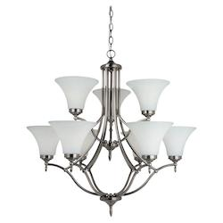 Nine Light Chandelier in Antique Brushed Nickel Finish with Satin Etched Glass P