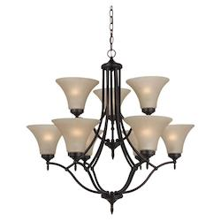 Fluorescent Nine Light Chandelier in Burnt Sienna Finish with Satin Cafe Tint Gl