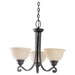Three Light Black Up Chandelier