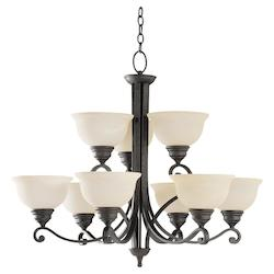 Nine Light Black Up Chandelier