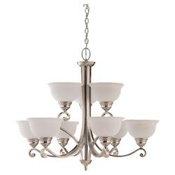 Nine Light Nickel Up Chandelier