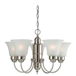 Five Light Nickel Up Chandelier