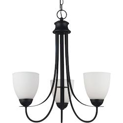 Fluorescent Uptown Three Light Chandelier in Blacksmith Finish with Satin Etched