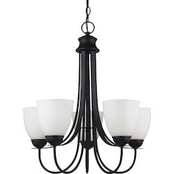 Fluorescent Uptown Five Light Chandelier in Blacksmith with Satin Etched Glass
