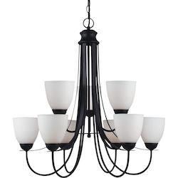 Fluorescent Uptown Nine Light Chandelier in Blacksmith with Satin Etched Glass
