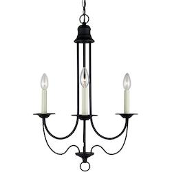 Plymouth Three Light Candelabra Chandelier in Blacksmith