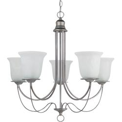 Fluorescent Plymouth Five Light Chandelier in Weathered Pewter with White Alabas