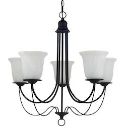 Fluorescent Plymouth Five Light Chandelier in Blacksmith with Sand Blasted Alaba