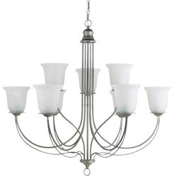 Plymouth Nine Light Chandelier in Weathered Pewter with White Alabaster Glass
