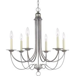 Plymouth Six Light Candelabra Chandelier in Weathered Pewter