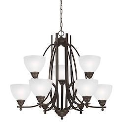 Vitelli Nine Light Chandelier in Autumn Bronze with Satin Etched Glass