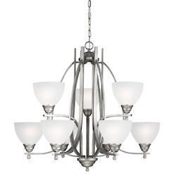 Fluorescent Vitelli Nine Light Chandelier in Weathered Pewter with Satin Etched