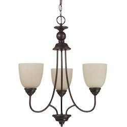 Fluorescent Lemont Three Light Chandelier in Burnt Sienna with Cafe Tint Glass