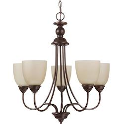 Fluorescent Lemont Five Light Chandelier in Burnt Sienna with Cafe Tint Glass