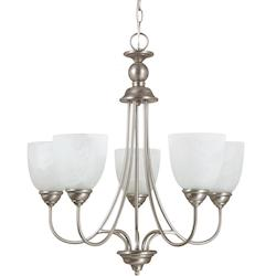 Fluorescent Lemont Five Light Chandelier in Antique Brushed Nickel with White Al
