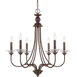 Lemont Six Light Candelabra Chandelier in Burnt Sienna with Clear Glass Bobeches