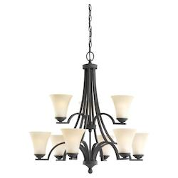 Fluorescent Somerton Nine Light Chandelier in Blacksmith with Cafe Tint Glass