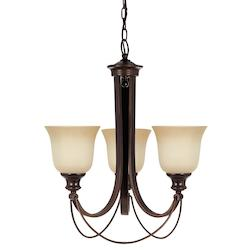 Fluorescent Park West Three Light Chandelier in Burnt Sienna with Cafe Tint Glas