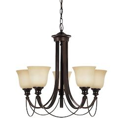 Fluorescent Park West Five Light Chandelier in Burnt Sienna with Cafe Tint Glass