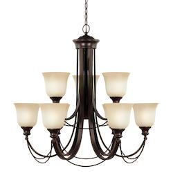 Park West Nine Light Chandelier in Burnt Sienna with Cafe Tint Glass