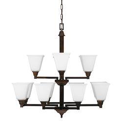 Fluorescent Denhelm Twelve Light Chandelier in Burnt Sienna with Etched Glass Pa