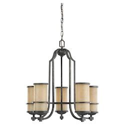 Fluorescent Roslyn Five Light Chandelier in Flemish Bronze with Creme Parchment