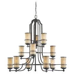 Fluorescent Twelve Light Roslyn Chandelier