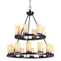 Ellington Eighteen Light Round Chandelier in Burnt Sienna with Cafe Tint Candle