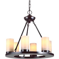 Ellington Six Light Round Chandelier in Burnt Sienna with Cafe Tint Glass