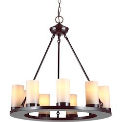 Ellington Nine Light Round Chandelier in Burnt Sienna with Cafe Tint Candle Glas