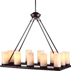 Ellington Twelve Light Rectangle Chandelier in Burnt Sienna with Cafe Tint Glass