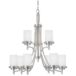 Fluorescent Winnetka Nine Light Chandelier in Brushed Nickel with Satin Etched G