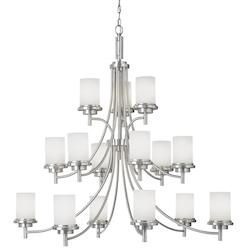Winnetka Fifteen Light Chandelier in Brushed Nickel Finish with Satin Etched Gla