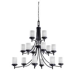 Fluorescent Winnetka Fifteen Light Chandelier in Blacksmith with Satin Etched Gl