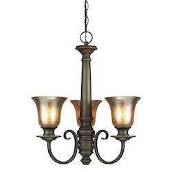 Fluorescent Blayne Three Light Chandelier in Platinum Oak with Mercury Glass