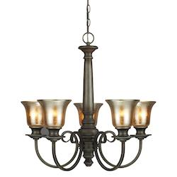 Fluorescent Blayne Five Light Chandelier in Platinum Oak with Mercury Glass