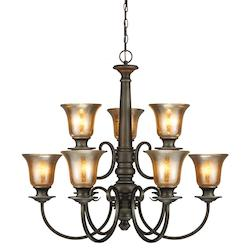 Fluorescent Blayne Nine Light Chandelier in Platinum Oak with Mercury Glass
