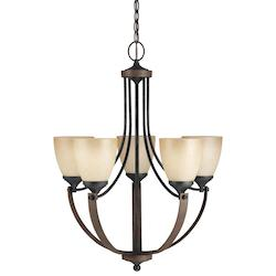 Fluorescent Corbeille Five Light Chandelier in Stardust with Creme Parchment Gla