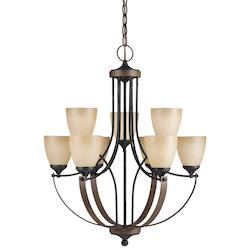 Fluorescent Corbeille Nine Light Chandelier in Stardust with Creme Parchment Gla
