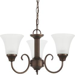 Holman Three Light Chandelier in Bell Metal Bronze with Satin Etched Glass