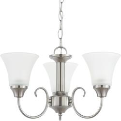 Holman Three Light Chandelier in Brushed Nickel with Satin Etched Glass