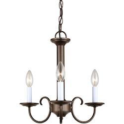 Holman Three Light Candelbra Chandelier in Bell Metal Bronze with Satin Etched G