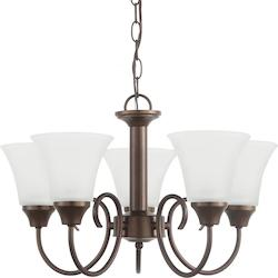 Holman Five Light Chandelier in Bell Metal Bronze with Satin Etched Glass