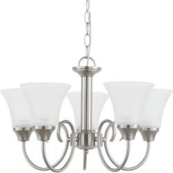 Holman Five Light Chandelier in Brushed Nickel with Satin Etched Glass
