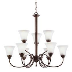 Holman Nine Light Chandelier in Bell Metal Bronze with Satin Etched Glass