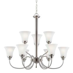 Holman Nine Light Chandelier in Brushed Nickel with Satin Etched Glass
