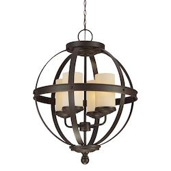 Fluorescent Sfera Four Light Chandelier in Autumn Bronze with Cafe Tint Glass