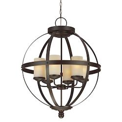 Fluorescent Sfera Six Light Chandelier in Autumn Bronze with Cafe Tint Glass