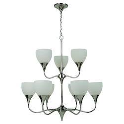 Fluorescent Nine Light Chandelier