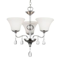 West Town Three Light Chandelier in Chrome with Etched Glass Painted White Insid